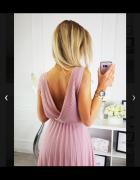 Sukienka midi maxi plisowana plis pudrowy róż nowa...