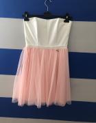 Biało różowa sukienka z tiulem...