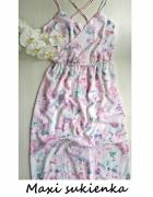 Maxi sukienka w kwiaty długa z rozcięciami 40 42 44 wesele na r...