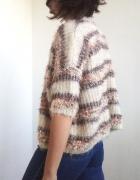 Włochaty sweterek nietoperz w paski 90s 80s oversize luźny jesi...
