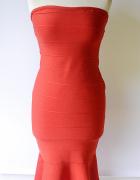 Sukienka Czerwona Syrenka NOWA Bandażowa M 38 Lipsy...