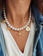 Nowy naszyjnik perły z przywieszkami