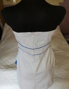 Sukienka biała w niebieskie paski r40...