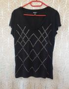Koszulka z dżetami ćwiekami używana tania elastyczna s m l 36 38 40