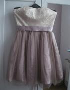 sukienka AMISU Glamour 36 pudrowa...