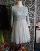 Błękitna tiulowa z cekinami sukienka 38 40...