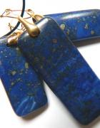 Lapis lazuli i piryt prostokąty w złotej oprawie