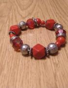 Elegancka czerwona bransoletka korale...