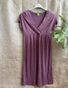 Fioletowa letnia sukienka z haftem 36 38