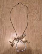 Naszyjnik wisiorek łańcuszek serce perełki cyrkonie klucz...