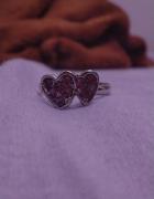Pierścionek serduszka cyrkonie pudrowy róż regulowany średnica ...