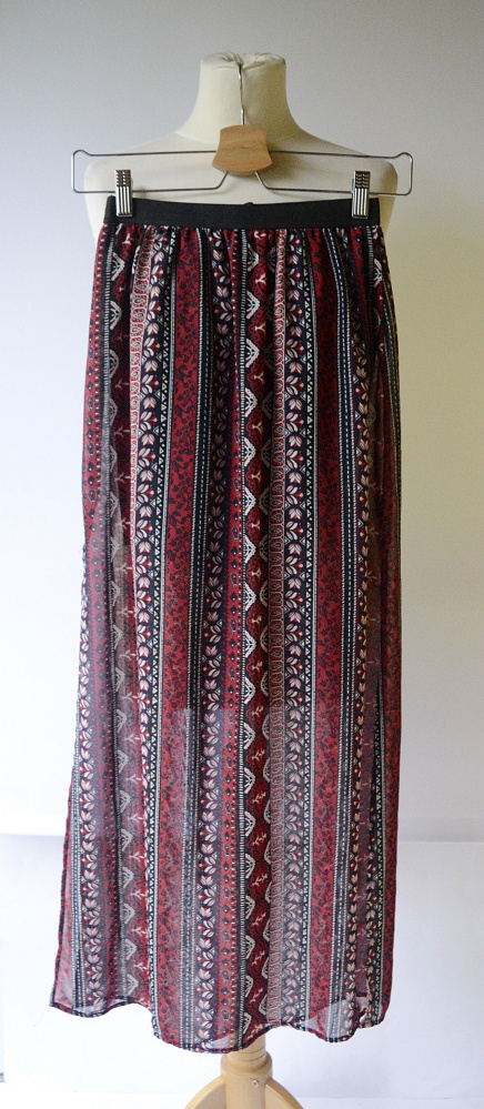 Spódnice Spódnica Długa Wzory Boho H&M XS 34 Maxi Rozporki Long