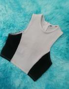 Crop top New Look XS S zamek szaro czarny bluzka koszulka...