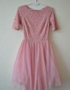 Tiulowa sukienka pudrowy róż...