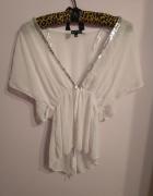 Elegancka zwiewna biała bluzka mgiełka cekiny Evita S M...