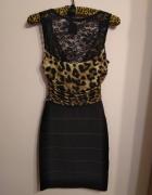 Piękna elegancka sukienka w panterkę z koronką Jane Norman 32...