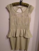 Elegancka sukienka baskinka koronka rozmiar L...