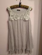 Szara sukienka tunika przeplatana srebrną nitką róże ZOE rozmia...