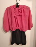 Różowo czarna sukienka mgiełka elegancka wiązana pod szyją...