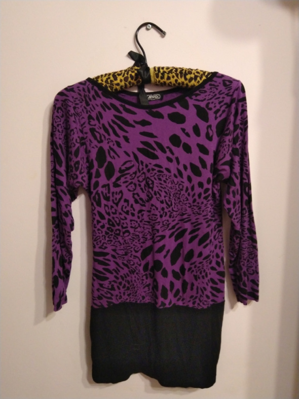 Suknie i sukienki Fioletowo czarna tunika sukienka panterka w panterkę ASG