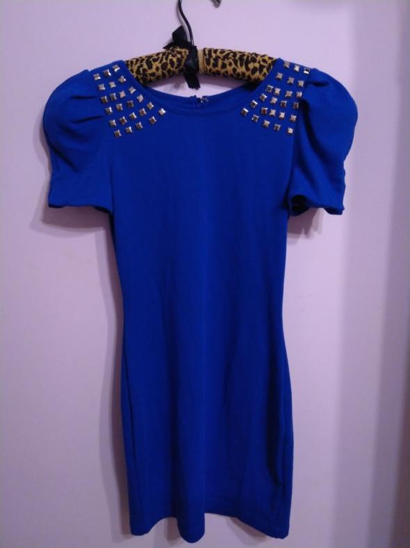 Suknie i sukienki Kobaltowa chabrowa niebieska sukienka ćwieki dżety bufiaste rękawy Lipsy 8