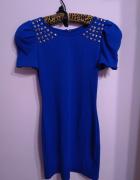 Kobaltowa chabrowa niebieska sukienka ćwieki dżety bufiaste ręk...