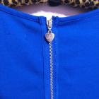 Kobaltowa chabrowa niebieska sukienka ćwieki dżety bufiaste rękawy Lipsy 8