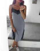 H&M sukienka bieliźniana midi z koronką na cieniutkich ramiączkach liliowa XS S
