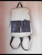 vintage plecak beżowy z kieszonkami