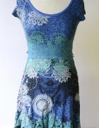 Sukienka Desigual XS 34 Wzory Boho Niebieska Rozkloszowana...