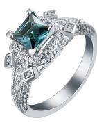 Nowy duży pierścionek retro styl srebrny kolor niebieska cyrkon...