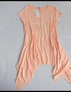 Morelowa sukienka asymetryczna pastelowa 40 L i 42 XL Nowa z metką
