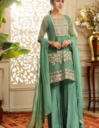 Nowy strój indyjski komplet S 36 zielony złoty tunika spodnie c...