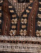 Boho folk etno haft aplikacja kwiaty floral 36S tunika sukienka...