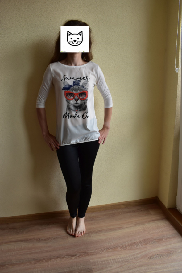 Bluzki Bluzka bombka Orsay XS34 śmieszny nadruk kotek