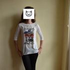 Bluzka bombka Orsay XS34 śmieszny nadruk kotek