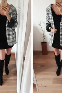 Marynarka płaszcz Mister Factice krata 43 wełna jako sukienka biało czarna