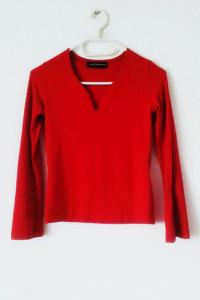 Czerwona bluzka z długim rękawem gothic dekolt