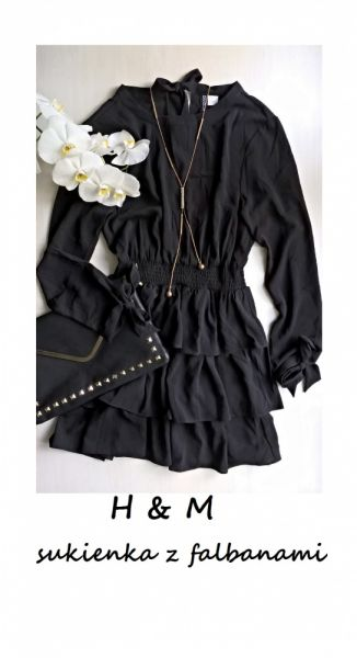 Suknie i sukienki Śliczna sukienka z falbanami długi rękaw S M