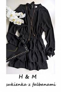 Śliczna sukienka z falbanami długi rękaw S M...