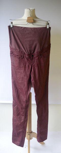 Spodnie Spodnie H&M Mama Rurki Woskowane Bordowe L 40 Bordo Ciąża