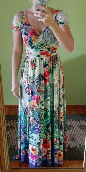 Suknie i sukienki Piękna sukienka maxi kwiaty floral La Furia XS S opadające ramiona