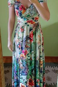 Piękna sukienka maxi kwiaty floral La Furia XS S opadające rami...