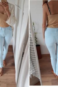 ICHI jeansy skinny rurki wysoki stan jasny denim błękit miękkie