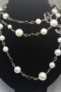 Eleganckie długie czarno białe perły cc duże logo wysoka jakość