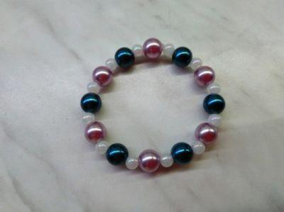 Bransoletki Nowa bransoletka różowo biało granatowa korale kulki