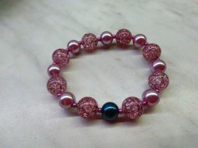 Bransoletki NOWA Piękna różowa bransoletka kontrast różowy i granatowy