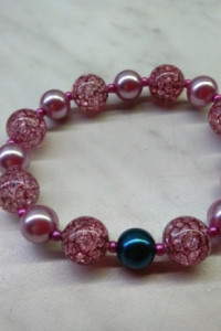 NOWA Piękna różowa bransoletka kontrast różowy i granatowy