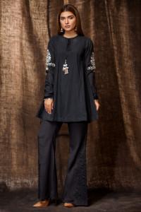 Nowa czarna tunika M 38 indyjska wzór haft boho hippie folk etn...