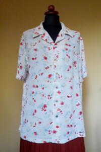 Biała koszula vintage JACKPOT BY CARLI GRY kwiatuszki M...